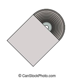 silhouette gray scale cd with paper cover vector ...