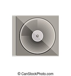 silhouette gray scale compact disc box vector illustration