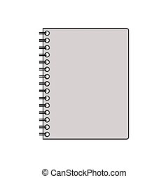 silhouette gray scale spiral notepad vector illustration