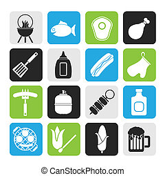 Grilling and barbecue icons - Silhouette Grilling and...