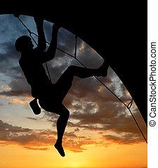 silhouette, grimpeur