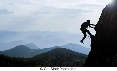 silhouette, grimpeur, rocher