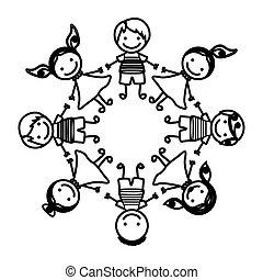 silhouette group cartoon children holding hands