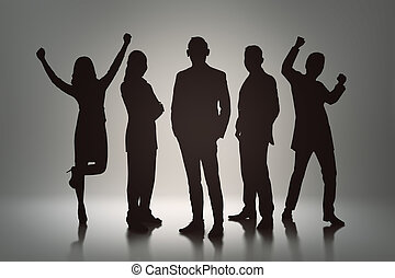 Silhouette group of business people with cheerful expression