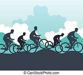 silhouette group of cyclists in championship