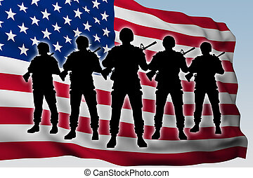 silhouette group soldiers against flag of USA