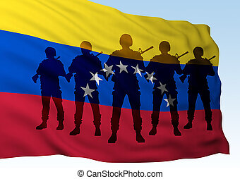 silhouette group soldiers against flag of Venezuela