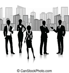 silhouette, groupe, business