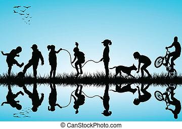 silhouette, gruppo, bambini giocando
