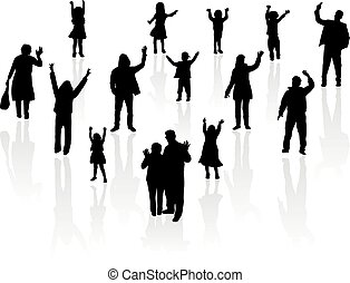silhouette, gruppo, persone