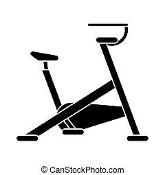 silhouette, gymnase, machine, vélo, sport, stationnaire