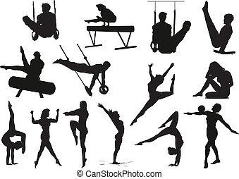 gymnastic sportsmens - silhouette gymnastic sportsmens