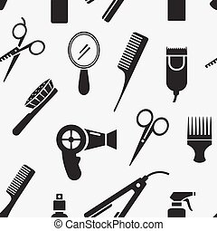 Silhouette Hairdressing Tools in Seamless Pattern Graphic...