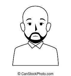 silhouette half body bald man with beard