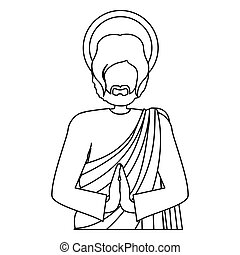silhouette half body picture saint joseph praying