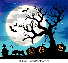 silhouette, halloween, albero