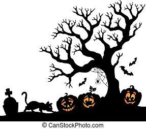 silhouette, halloween, arbre