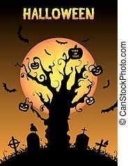 silhouette halloween graveyard  bac