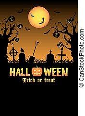 silhouette halloween graveyard card