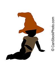 silhouette, halloween, illustration, américain, africaine, ...