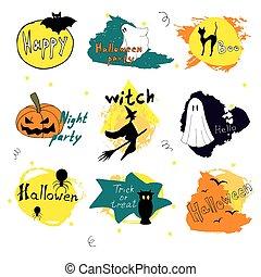 silhouette, halloween, illustration, conception, vecteur, collections, jour, heureux