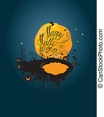 silhouette, halloween, night:, cielo, luna, fondo., zucche
