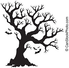 Silhouette Halloween tree with bats - eps10 vector...