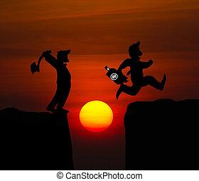 silhouette, halten, springende , abgrund, aus, axt, mann, karikatur, begriff