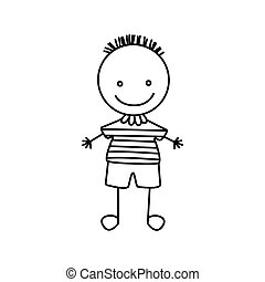 silhouette hand drawing cute boy with striped shirt