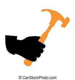 silhouette, hand, hammer, besitz, ikone