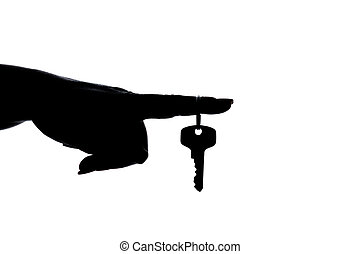silhouette: hand with key at finger - black silhouette of a...