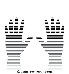 silhouette hand with stripes on a white background
