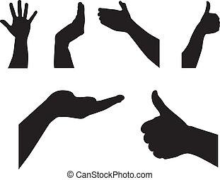 silhouette, handen