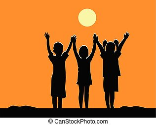 silhouette, handen, schudden, drie kinderen, team, vriendschap, ondergaande zon