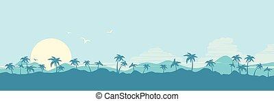 silhouette, handflächen, insel, tropische , hintergrund, paradies, sonne