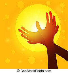 Silhouette hands  in shape of dove on background of sunset, world peace concept. Vector EPS10.