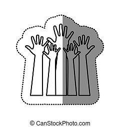 silhouette hands up icon, vector illustration design