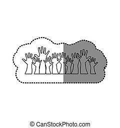silhouette hands up together icon