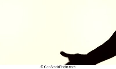 silhouette of male fingers handshake on white background