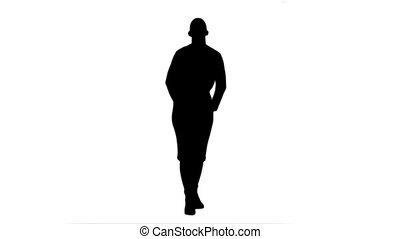 Silhouette Happy businesswoman throws paper document pages...
