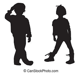 Silhouette happy children
