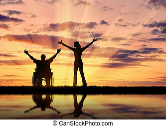 Silhouette happy disabled person and guardian - Concept of...