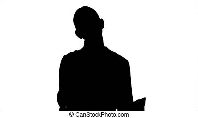 Silhouette Happy excited woman showing approval hand gesture thumb up and smiling.