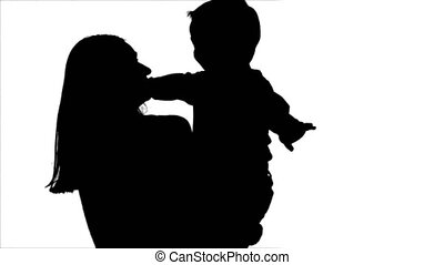 Silhouette Happy family having fun