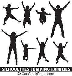 Silhouette happy jumping family - Collect vector silhouettes...