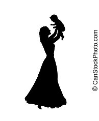 Silhouette happy mother holding newborn baby in air