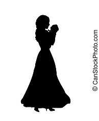 Silhouette happy mother holding newborn baby in arms