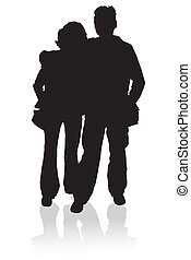 Silhouette happy young family, illustration