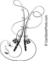 silhouette, harcelé, cannes pêche, ligne
