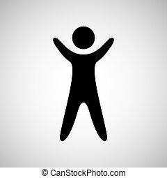 silhouette, haut, conception, mains, homme, heureux